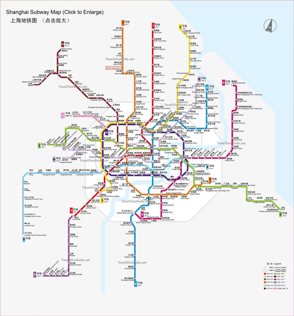 Subway route map of Shanghai