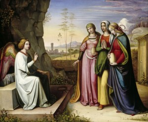 PAINTING OF ANGEL, WOMEN AT EMPTY TOMB OF CHRIST