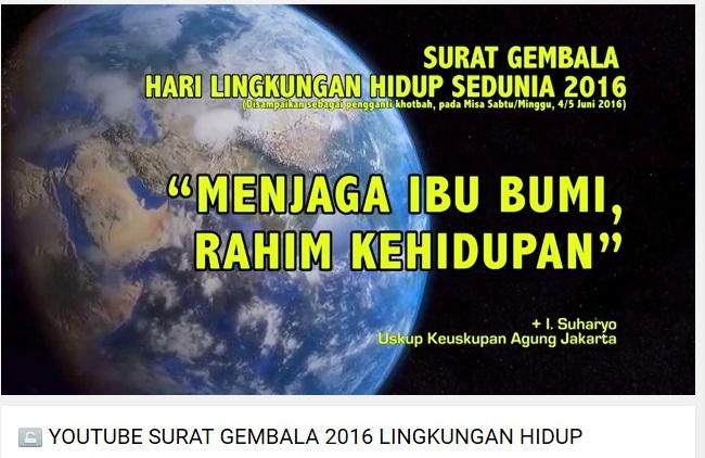 Surat Gembala Hari Lingkungan Hidup Sedunia 5 Juni youtube