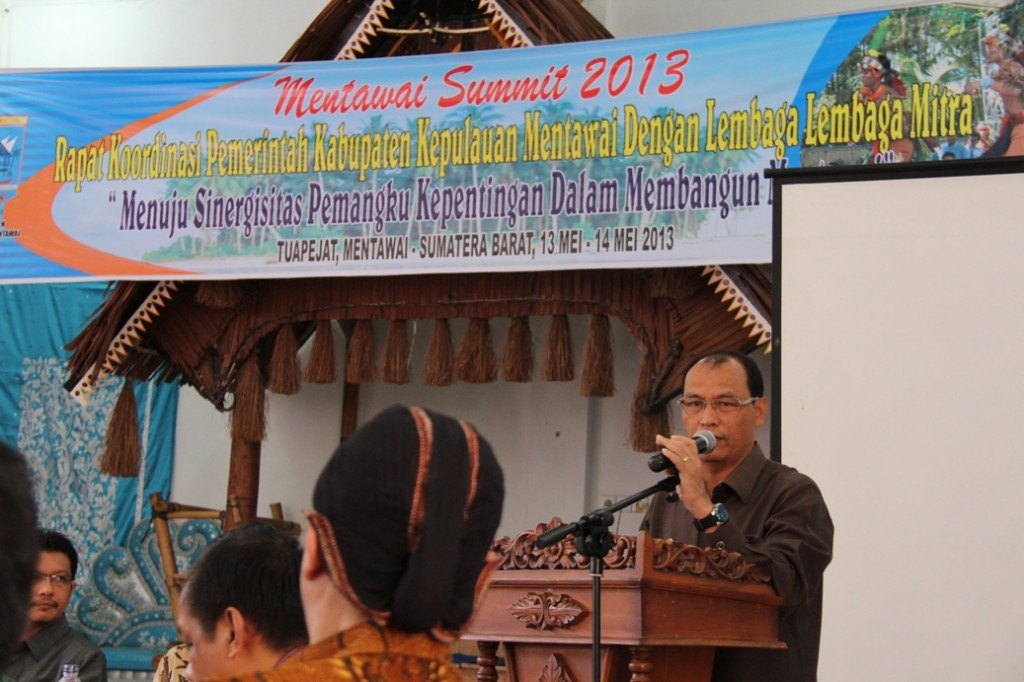 Mentawai District Chief Mr. Yudas Sabbagalet during the Mentawai Summit