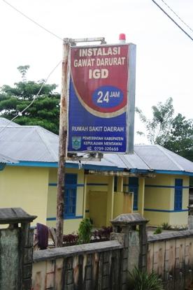Plang papan nama RSUD Mentawai