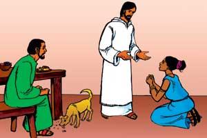 perempuan dan anjing makan remah2
