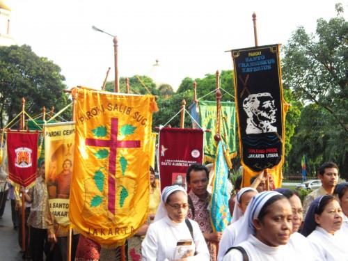 Procession of all parishes flags