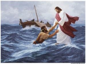 Yesus dan Petrus berjalan di atas air