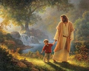 yesus menggandeng anak