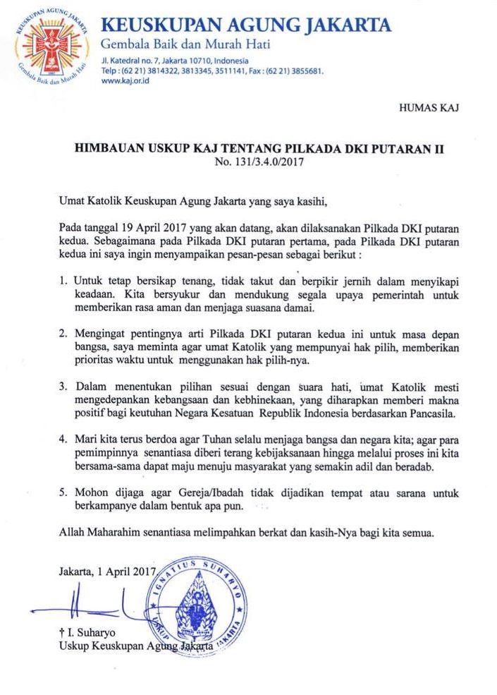 Surat imbauan Uskup Agung Jakarta, Mgr. Ignasius Suharyo.