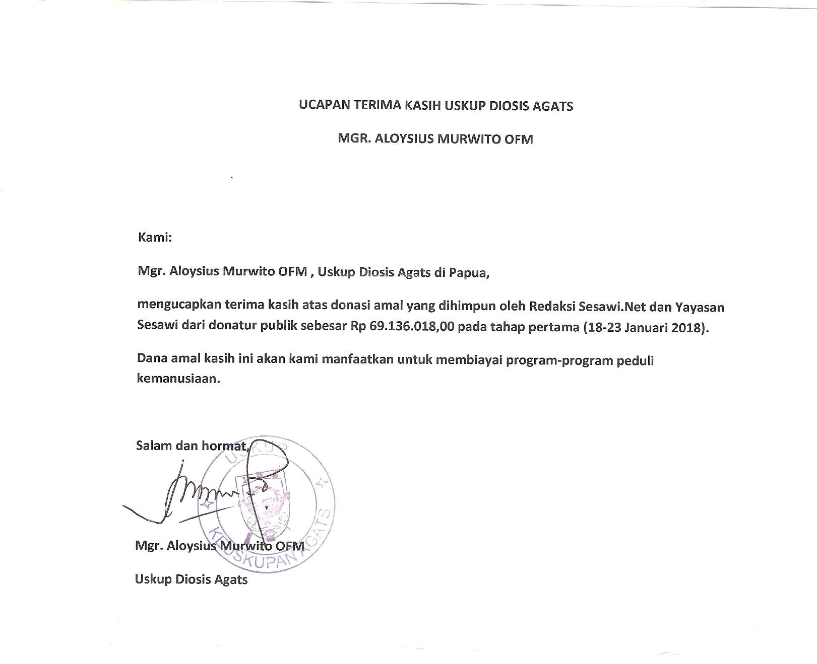 Mgr Aloysius Murwito Ofm Terima Kasih Atas Donasi Amal Kemanusiaan Untuk Asmat Melalui Sesawi Net Dan Yayasan Sesawi Sesawi Net