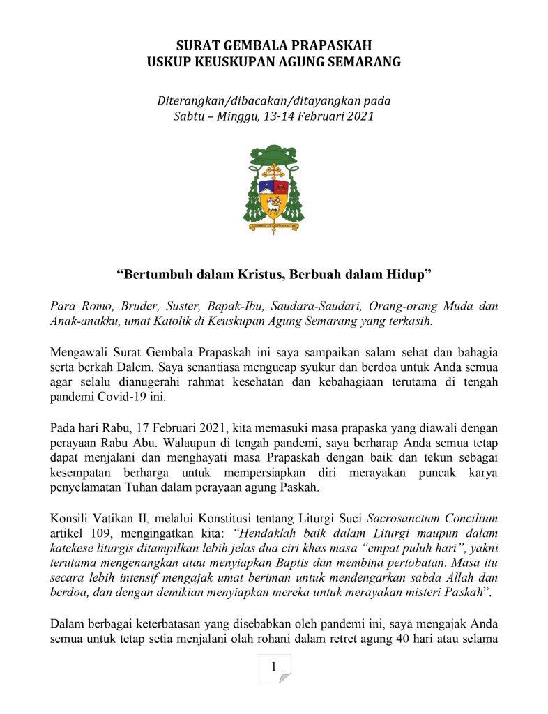 Surat Gembala Prapaskah 2021 Dari Uskup Kas Sesawi Net
